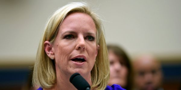 A Democratic senator is asking the FBI to investigate Kirstjen Nielsen, accusing her of perjuring herself in sworn testimony about the family separations