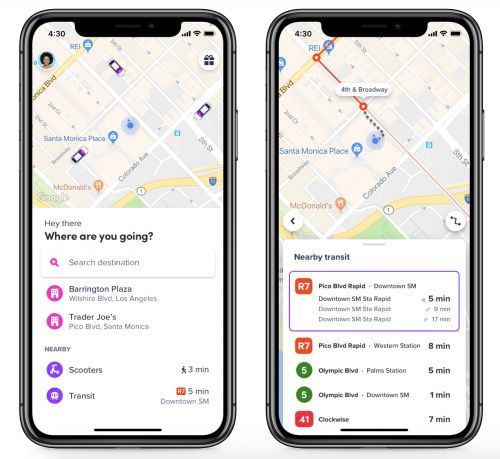 Lyft now integrates public transit info in app