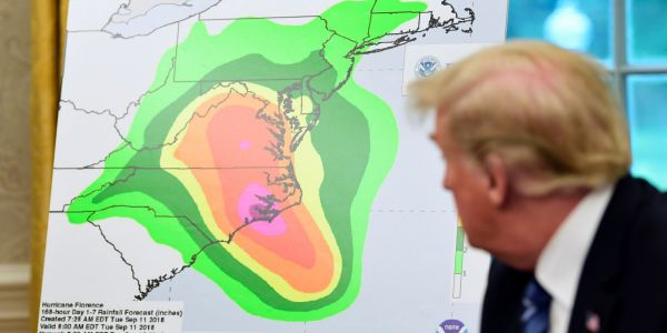 Trump tweets that Hurricane Florence got 'more powerful' after it's downgraded 2 categories