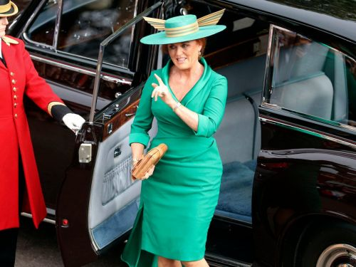 Princess Eugenie's mom Sarah Ferguson turned heads at the royal wedding in a hat with a striking wing detail