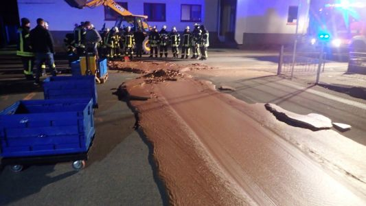 A massive chocolate spill left a sweet, sweet mess on the streets of Germany, and 25 firefighters were called in to clean it up