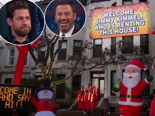 John Krasinski pranked Jimmy Kimmel by adorning his Airbnb with Christmas decorations