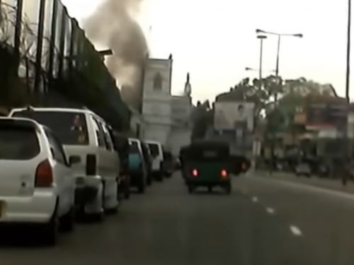 Dash cam footage appears to show the horrifying moment a bomb exploded at a church in Sri Lanka's capital