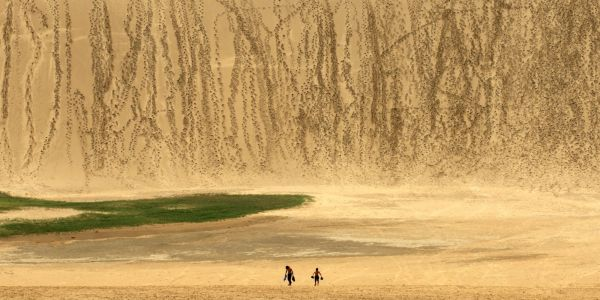 Japan is pleading with tourists to stop writing huge messages in the sand on a series of giant, ancient dunes