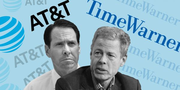 AT&T is climbing ahead of a judge's decision on its $85 billion bid for Time Warner