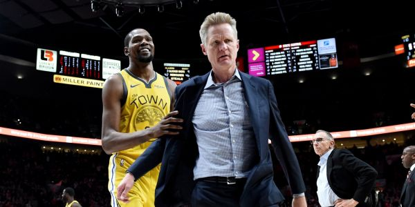 Steve Kerr flipped out on a 'Draymond Rule' foul and summed up his meltdown with a funny quote after the game