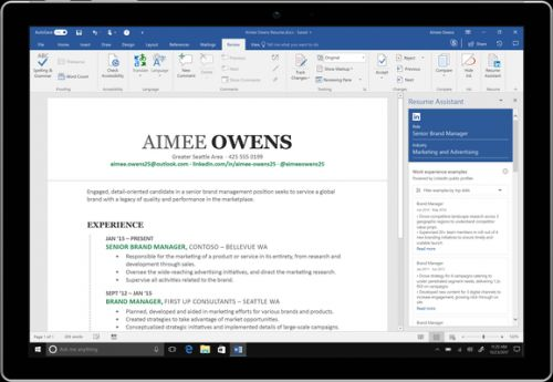 Microsoft Word adds LinkedIn-powered Resume Assistant to Office 365