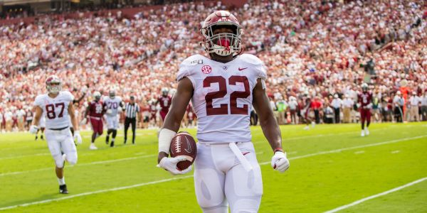 Alabama running back Najee Harris hit the truck stick, hurdled a defender, and shouted out Megan Rapinoe to score the most spectacular TD of the college football season so far