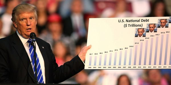 The US national debt just pushed past $22 trillion and Trump has racked up over $2 trillion in debt - here's how that compares to Obama, Bush, and Clinton