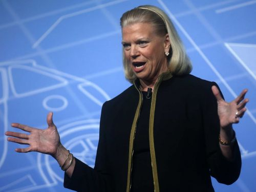 IBM spikes after posting its first annual revenue growth since 2011