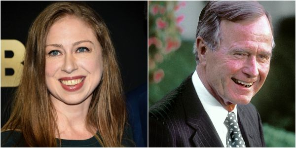 Chelsea Clinton shares sweet photo of the first time she met George H.W. Bush as a toddler
