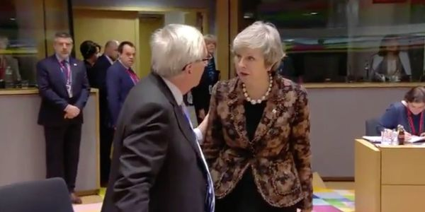 Theresa May angrily confronts Jean-Claude Juncker after the EU rejected her Brexit proposals