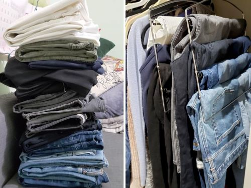 These $12 pant hangers save me a ton of space in my tiny closet - each one holds at least 5 pairs
