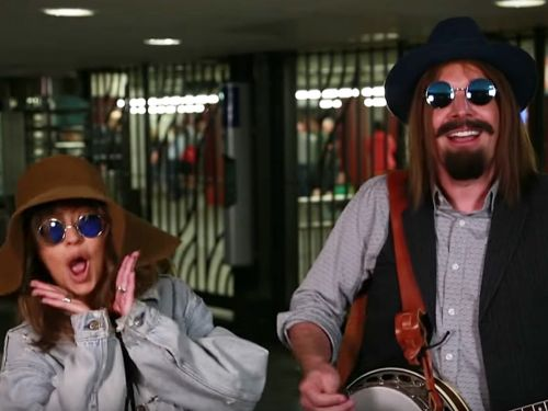 Christina Aguilera and Jimmy Fallon performed in disguise at a New York City subway station - and surprised riders got an amazing show