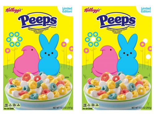 Kellogg's released Peeps cereal and it's a marshmallow-flavored cereal with marshmallows