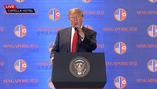 Trump toes Kim Jong Un's line in a bizarre press conference on no sleep after the summit