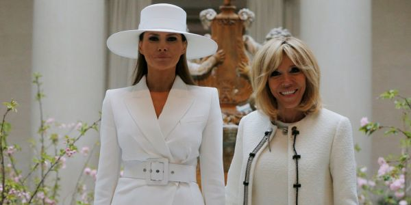 Melania Trump and Brigitte Macron keep dressing alike - and it's sending a strong style signal