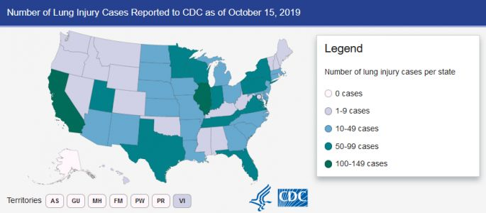 Every state but Alaska has reported vape lung victims, now numbering 1,479 nationwide