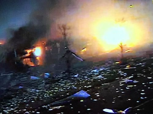 Explosion at silicone plant north of Chicago leaves 4 injured, 3 missing - footage from a nearby outdoor cam shows a bright inferno funneling into the sky