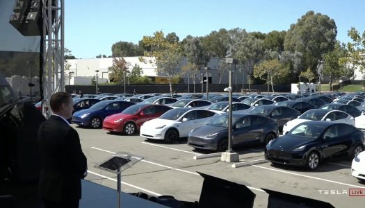 Tesla's investor meeting and 'Battery Day' kicks off in front of an unusual crowd of people watching Elon Musk from inside Tesla cars