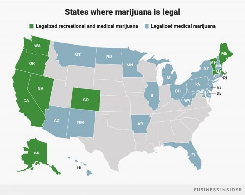 This map shows every state that has legalized marijuana