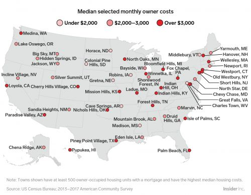 Here's the most expensive town for homeowners in every US state
