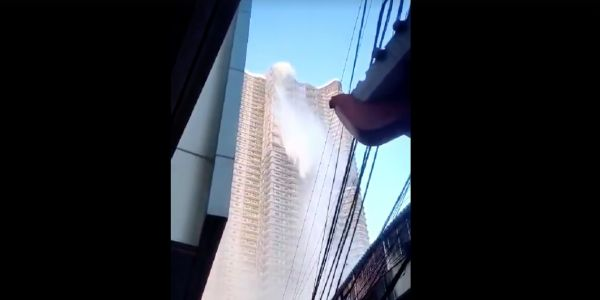 Video shows the moment a powerful Manila earthquake sent water cascading down from a skyscraper swimming pool