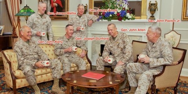 One striking image shows the Marine Corps generals who will have left the Trump administration, after the president praised their service