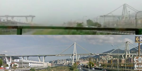 Before-and-after photos show the startling scale of the bridge collapse disaster in northern Italy
