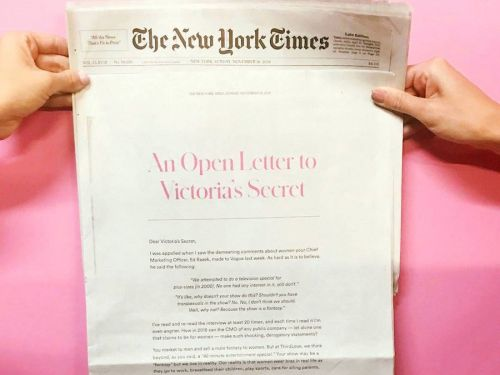 "'Your show may be a ""fantasy"" but we live in reality': Lingerie startup ThirdLove slams Victoria's Secret exec in full-page New York Times ad"