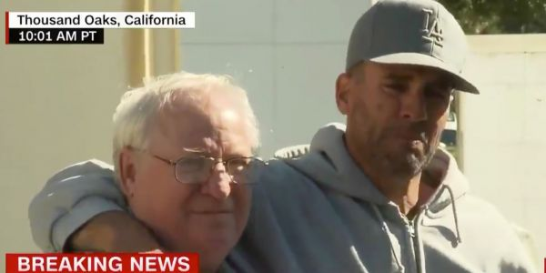 The father of a Thousand Oaks shooting victim breaks down in tears as he tells the media his son is dead