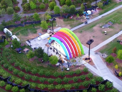 A new drone video filmed over Apple's campus reveals a mysterious rainbow-colored stage - here's our best guess at what it is