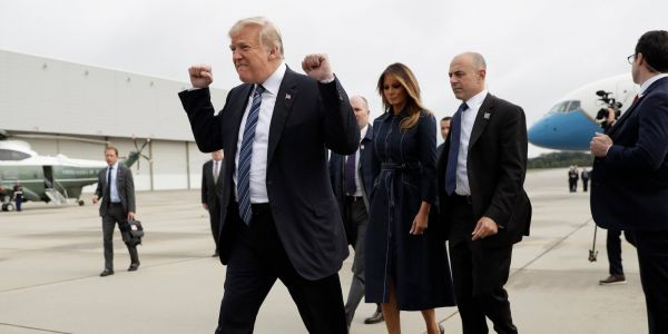 Photo shows Trump pumping fists en route to September 11 memorial service