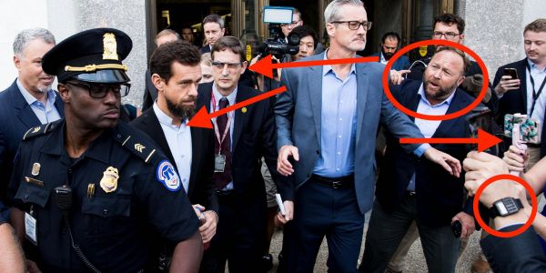 People are talking about this amazing photo of Jack Dorsey and Alex Jones as a funny, dystopian, yet iconic image