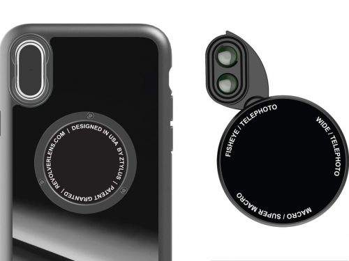 This clever $35 iPhone case has a scroll wheel with six built-in lenses - and it turns your phone camera into a Swiss-army knife for taking pictures