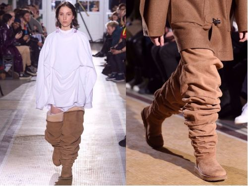 A designer sent models down the runway wearing thigh-high Ugg boots - and people are horrified