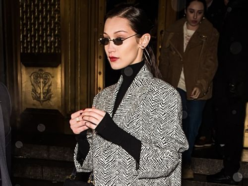 Bella Hadid wore a zebra-print jacket with tiny sunglasses that will give you major '90s flashbacks