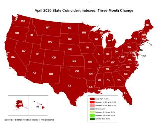 Philly Fed: State Coincident Indexes Decreased in All States in April