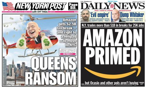 New York City's top tabloids have weighed in on Amazon HQ2 - and they're leaning into the controversy
