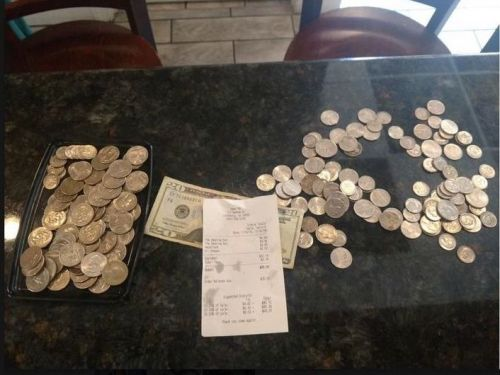 A teen was shamed by a restaurant for paying in quarters - even though he left a 22% tip
