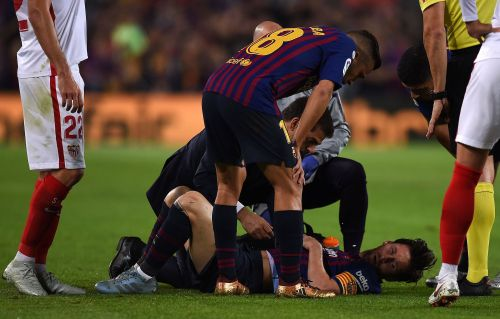 Lionel Messi scored a goal, created another, but injured his arm in a horrific fall and may be sidelined for the biggest FC Barcelona match of the year
