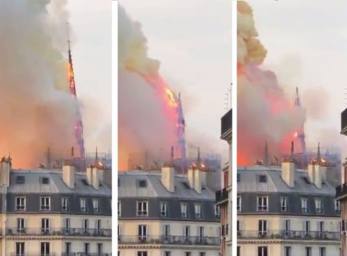 Watch the moment the iconic spire on top of Notre-Dame cathedral collapsed