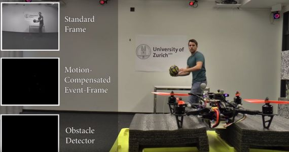 Watch this self-piloting drone effortlessly dodge a soccer ball being thrown at it in real-time
