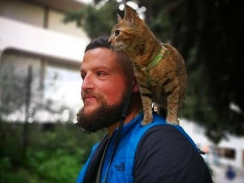 A man is riding his bike around the world - and he's carrying a kitten on his back as he goes
