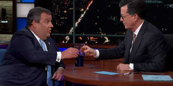 Chris Christie downs tequila shots on the 'Late Show' and says he could have been a better president than Trump