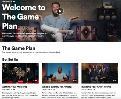 Spotify launches 'The Game Plan,' a 10-part educational video series for artists
