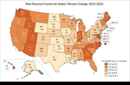 Real Personal Income for States and Metropolitan Areas, 2016