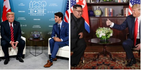 Photos taken just 48 hours apart show the contrast between Trump's G7 talks and his summit with Kim Jong Un