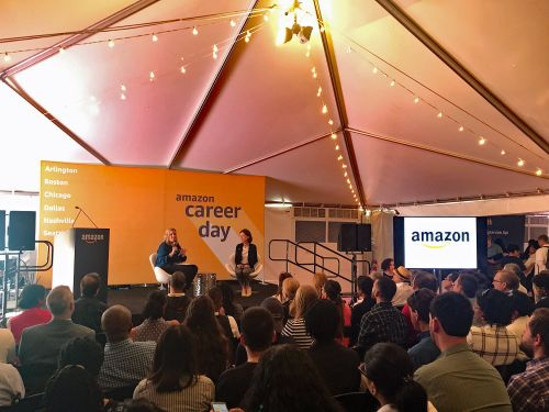 Huge crowds of people waited in long lines for tips on how to snag one of 30,000 jobs at Amazon Career Day. Here's what it was like on the ground in Arlington
