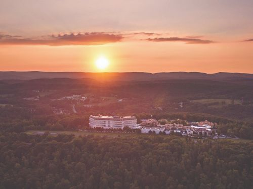 This over-the-top luxury resort outside of Pittsburgh was inspired partially by the Ritz Paris and features a zoo, a private airfield, and a pet spa